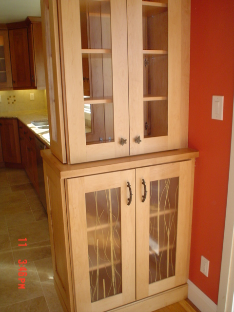 lower cabinet see through banboo look glass